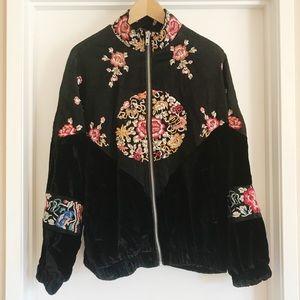 Free People Jacket Velvet Embroidered RARE!